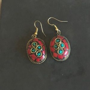 Turquoise and coral bead earrings